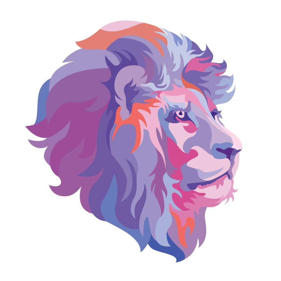 logo animale testa di leone astratto vettore
