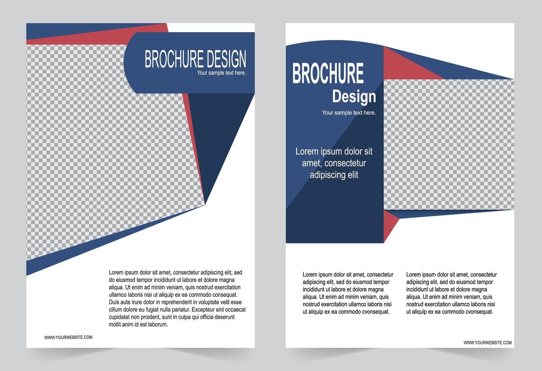 design volantino geometrico rosso e blu vettore