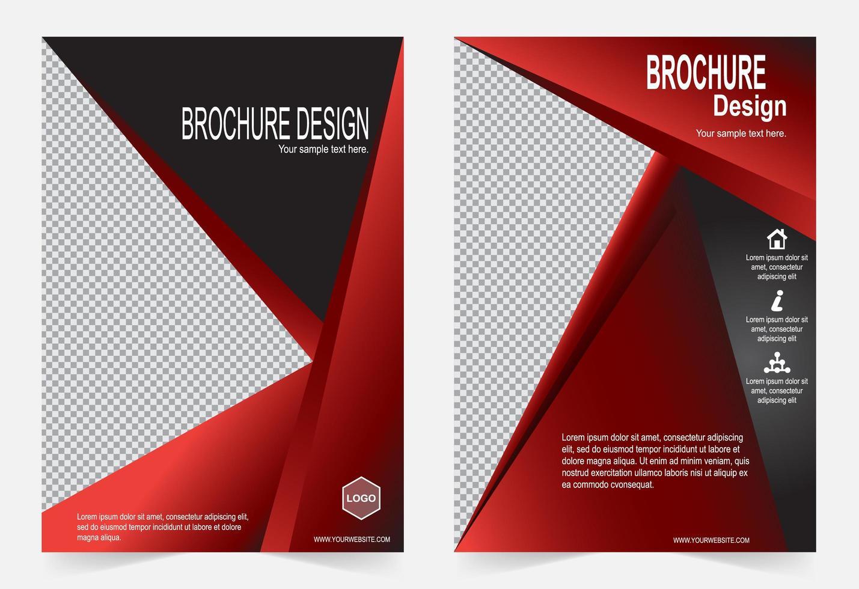 set di modelli di brochure rosso e nero vettore