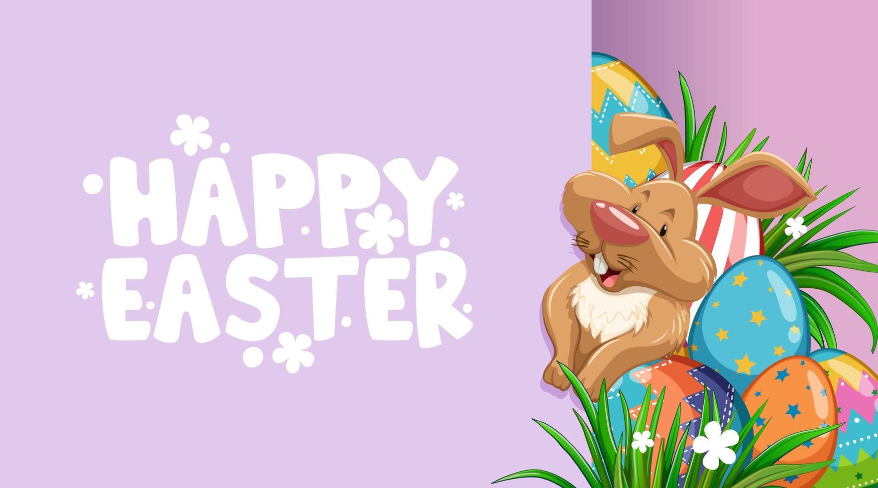 poster di Pasqua con coniglietto e uova dipinte vettore