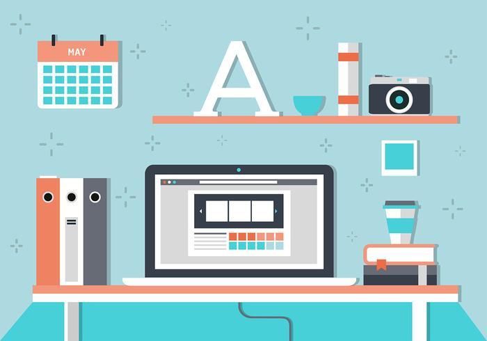 Illustrazione vettoriale desktop portatile