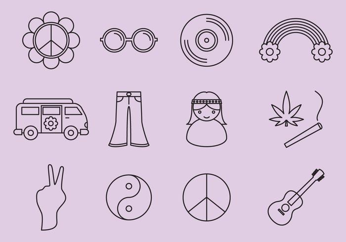 Icone di hippy vettore