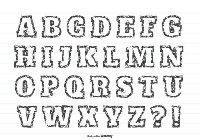 Insieme di alfabeto di vettore di stile di Grunge