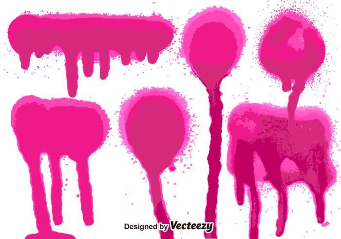 Set di 6 schizzi di vernice spray rosa vettore