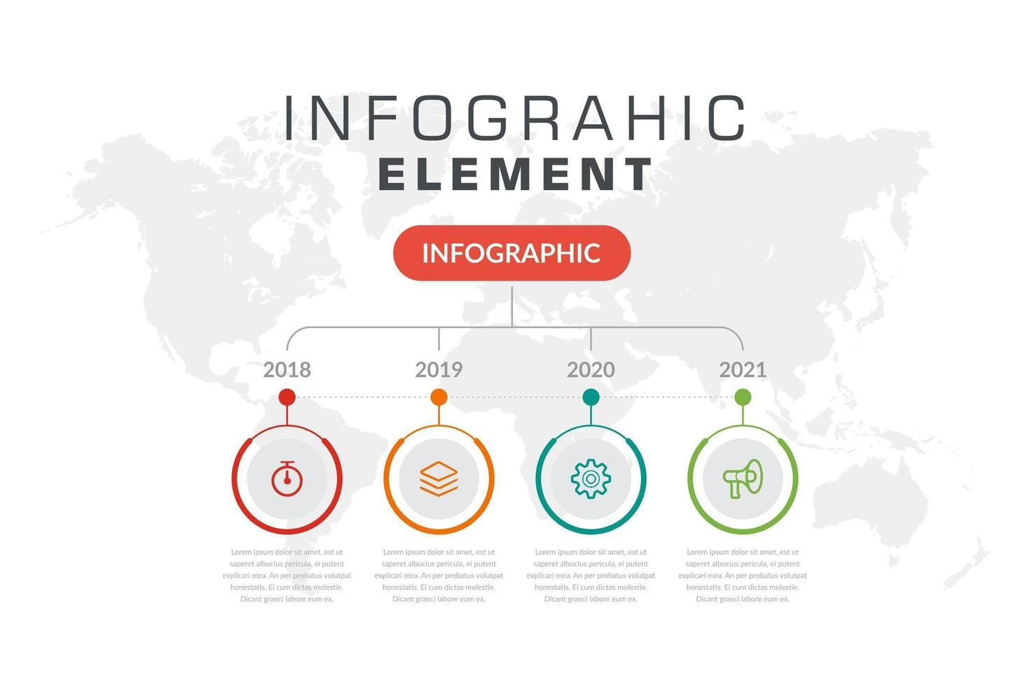 cronologia infografica con 4 icone colorate nei circoli vettore