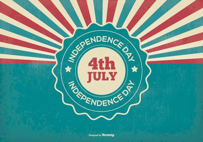 Retro illustrazione del giorno dell'indipendenza vettore