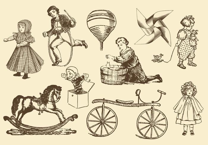 Vettori di giocattoli antichi