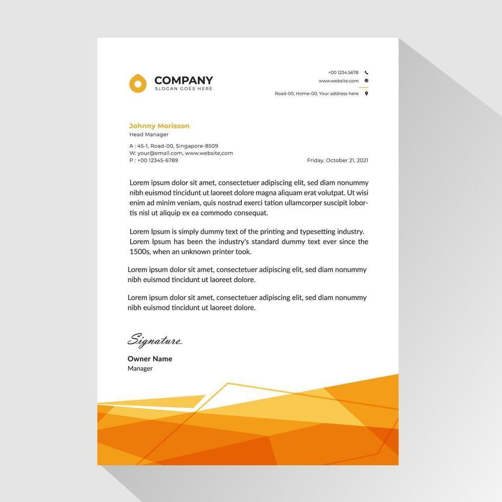 carta intestata aziendale con forme di poligono arancione vettore