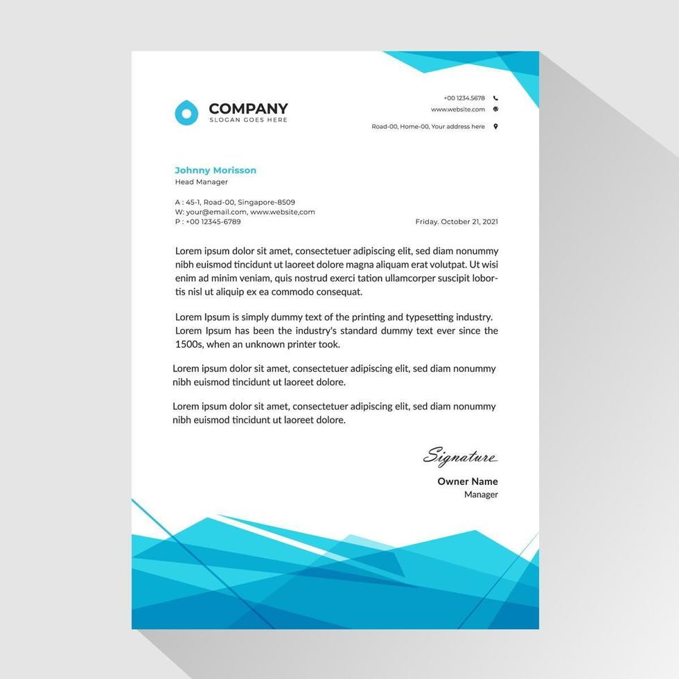 carta intestata aziendale con poligoni trasparenti vettore