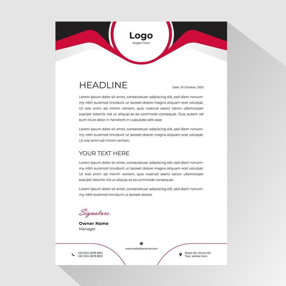 carta intestata aziendale con intestazione nera e rossa di forma curva vettore