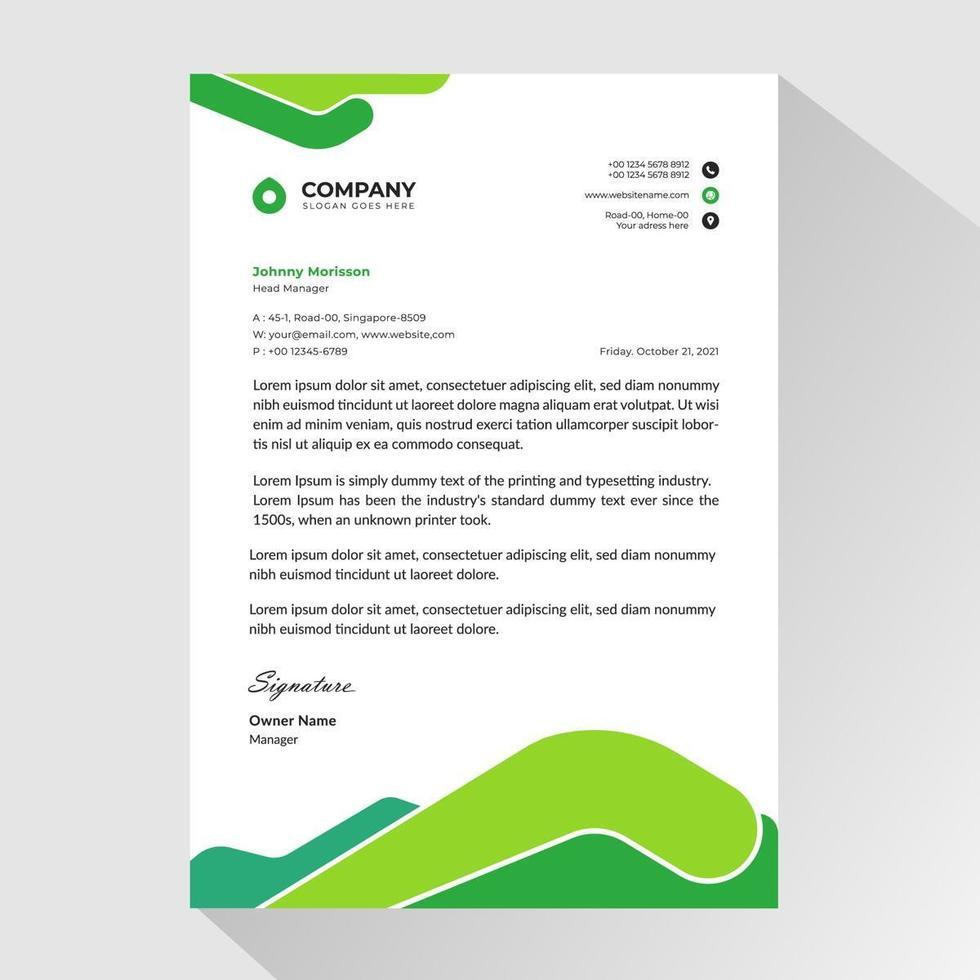 carta intestata aziendale con forme arrotondate astratte verde vettore