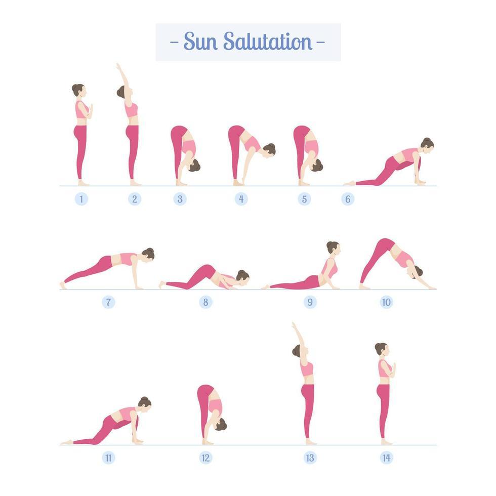 Pratica yoga con donna che fa i saluti al sole vettore