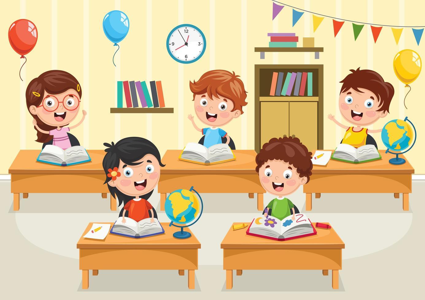 studenti di cartoni animati che leggono libri ai banchi vettore