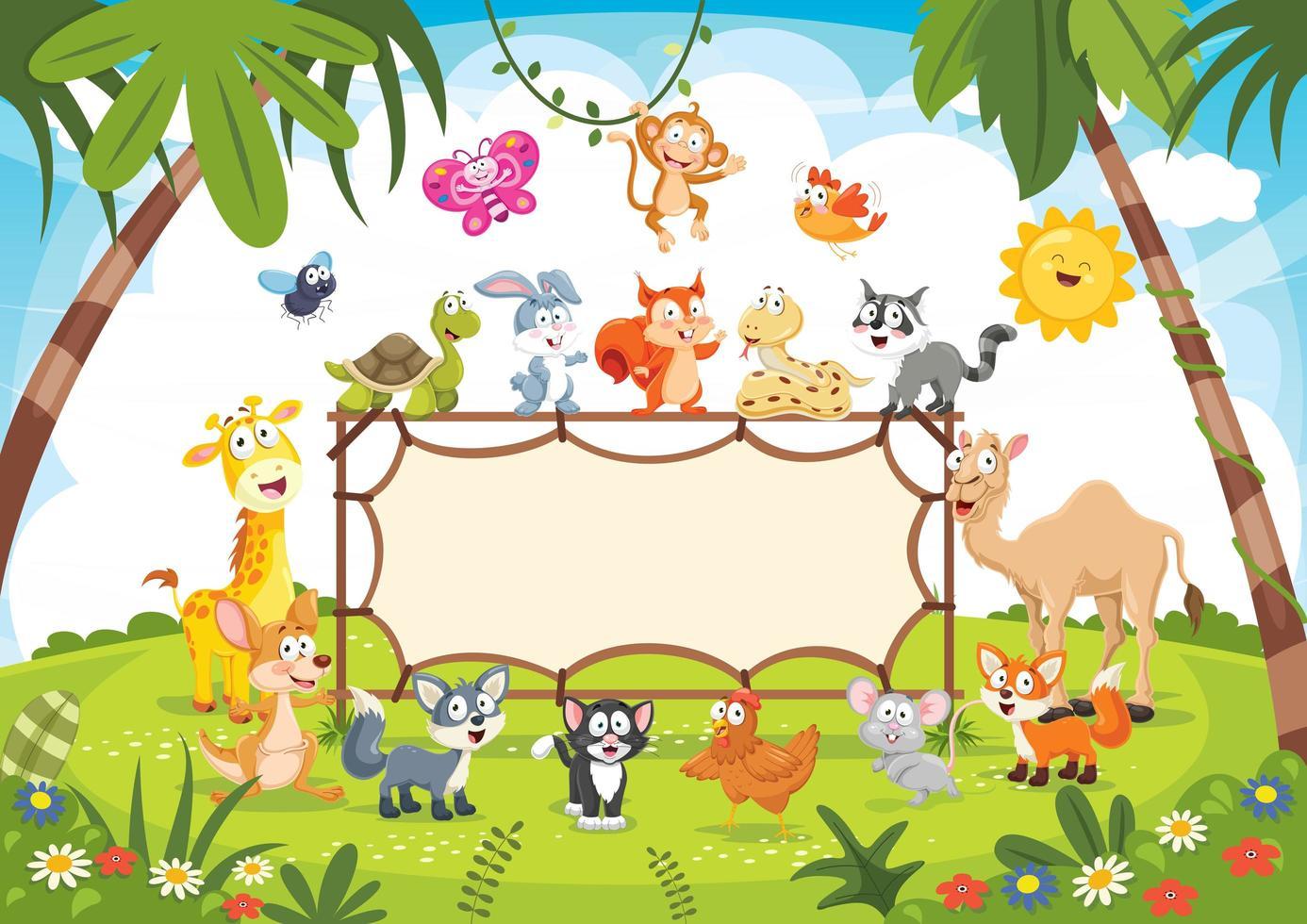 animali selvatici in natura con cartello vettore