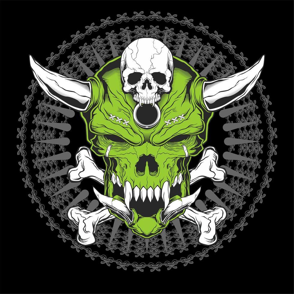 testa di teschio verde con corna e ossa incrociate vettore