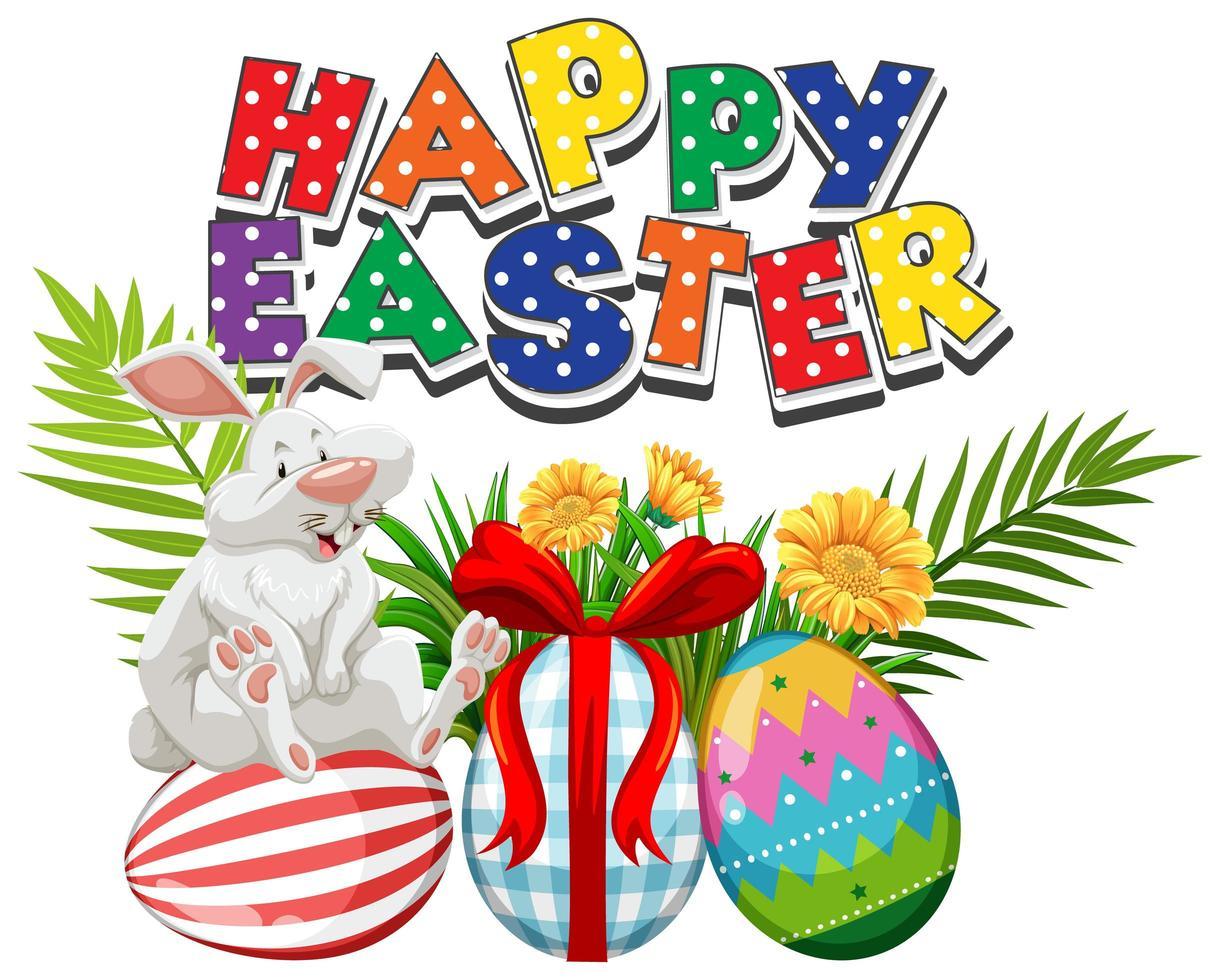 pois coniglio bianco pasquale e uova dipinte vettore