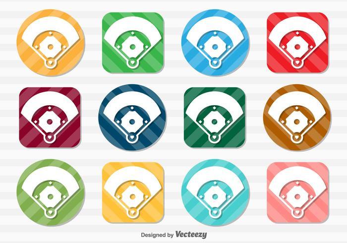 Insieme di vettore dei bottoni dell'icona del campo di baseball