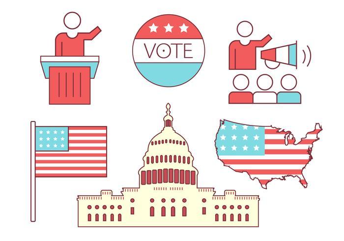 Icone di politica degli Stati Uniti vettore
