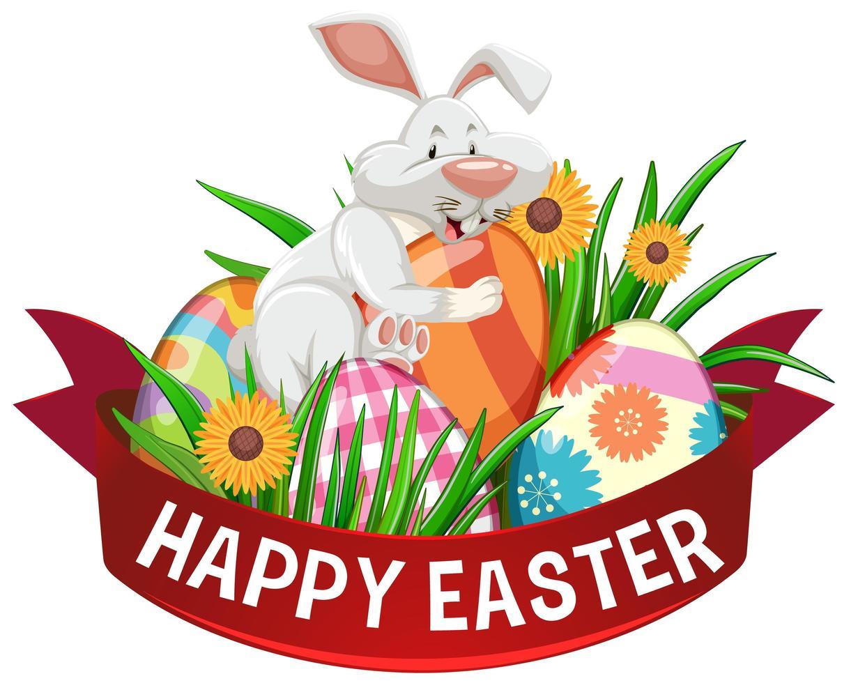 poster di buona Pasqua con uova dipinte e coniglio vettore
