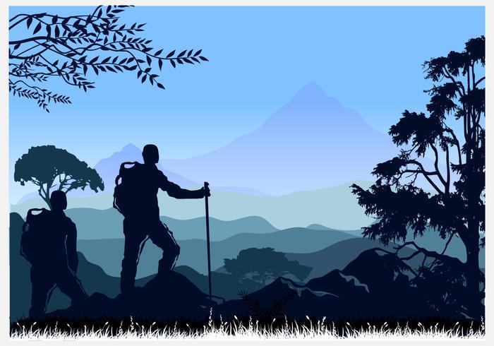 Alpinismo e illustrazione vettoriale in viaggio