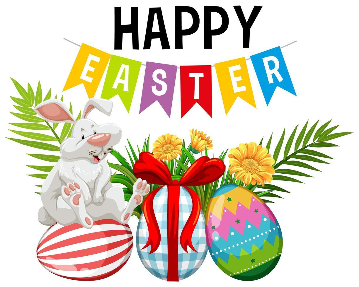 sfondo di Pasqua con coniglio e uova dipinte vettore