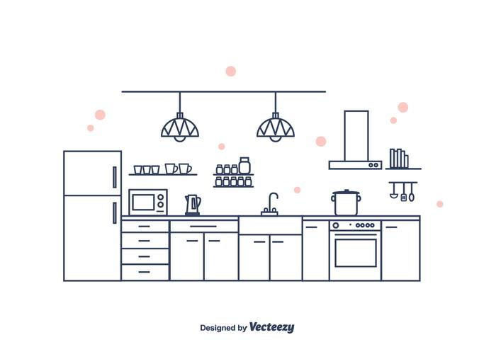 Vettore interno della cucina