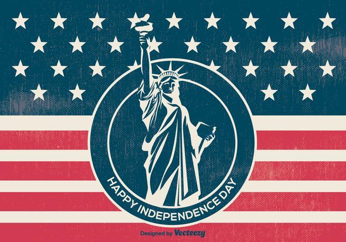 Illustrazione di giorno di indipendenza stile retrò vettore