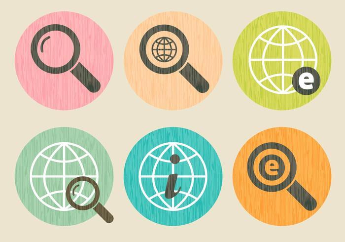 Set di icone di Internet Explorer grano di legno vettore