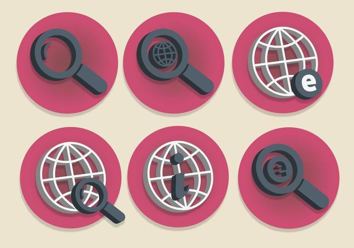Set di icone di Internet Explorer 3D vettore