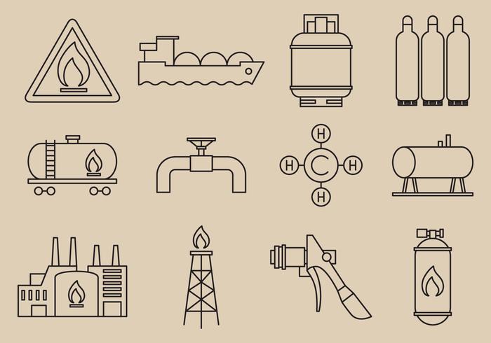 Icone di energia a gas vettore