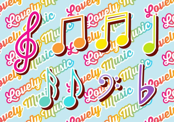 Set di note colorate di chiave e musica di violino vettore