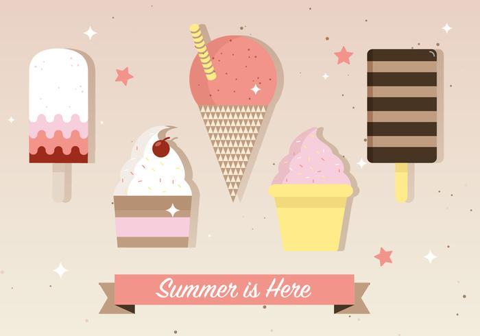 Illustrazione vettoriale di gelato piatto