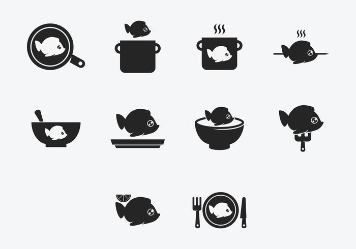 Set di icone di pesce Fry Cook vettore