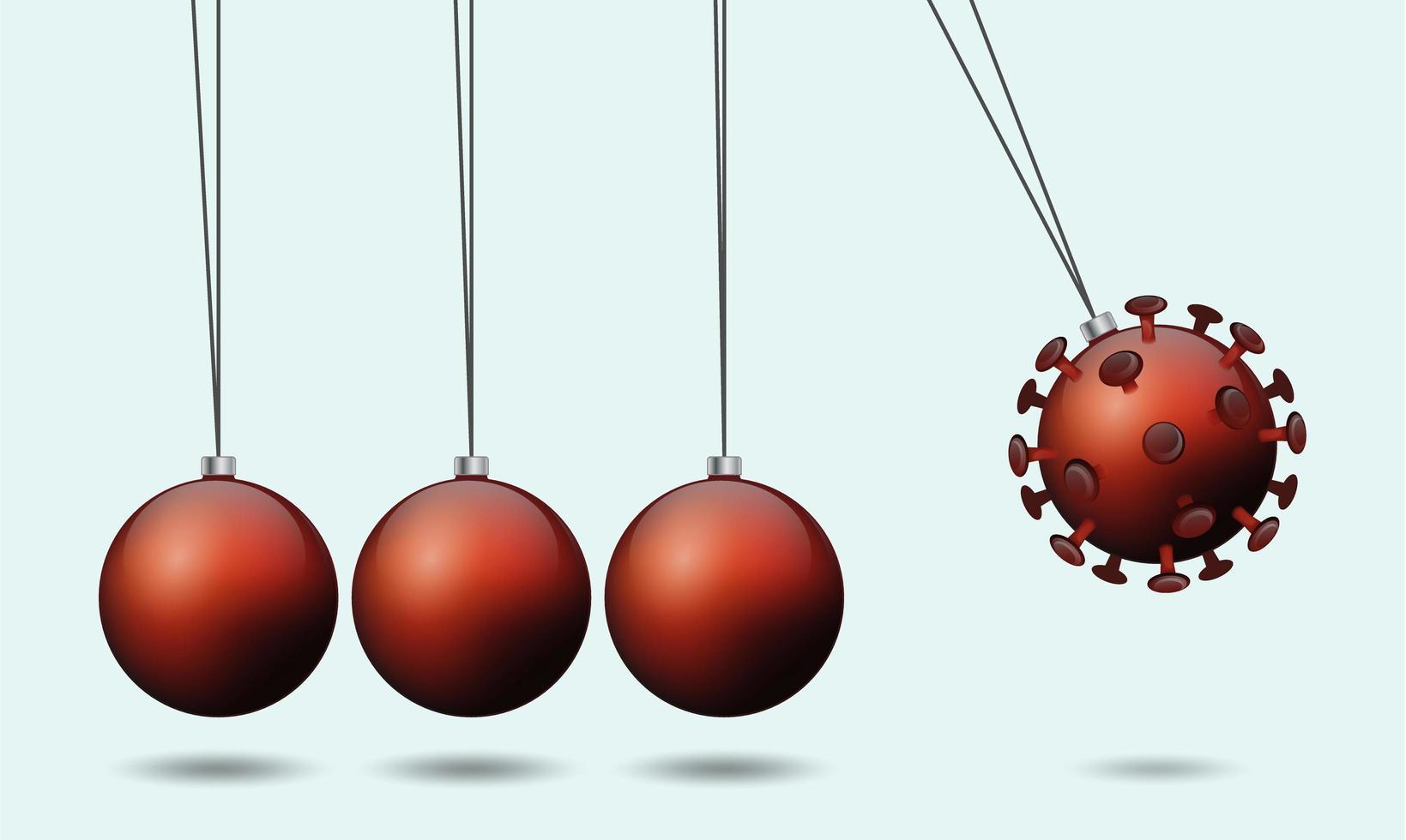 concetto di allontanamento sociale con ornamenti natalizi vettore