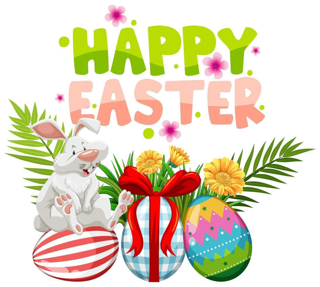 disegno di Pasqua con coniglio bianco su uova dipinte vettore
