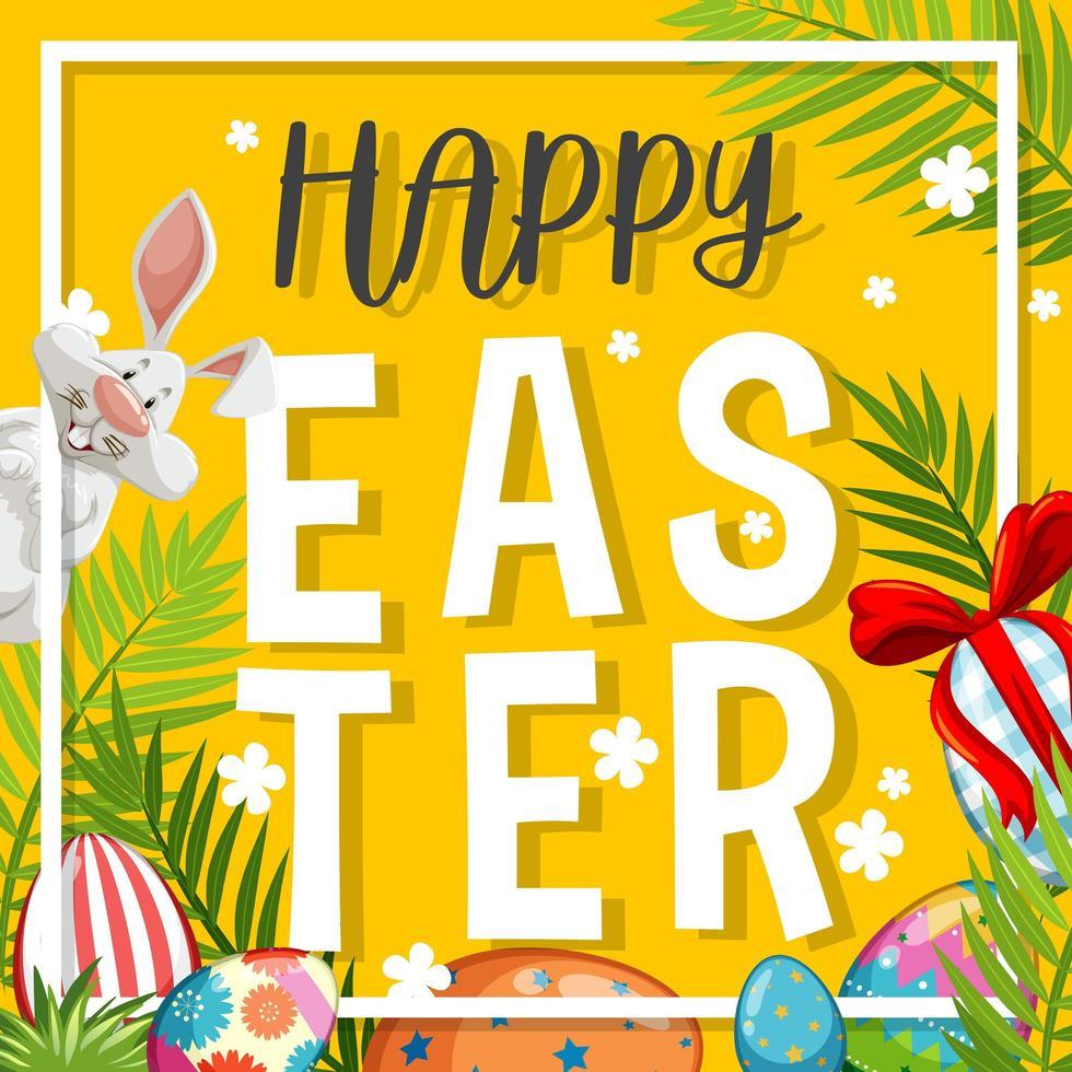sfondo di Pasqua con coniglietto bianco e uova dipinte vettore
