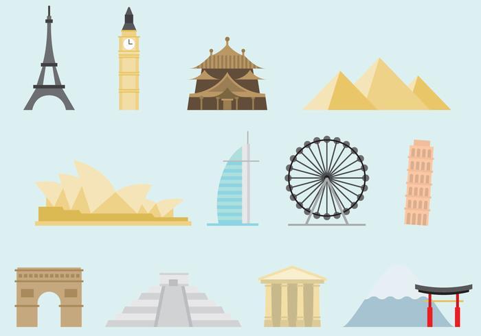 Monumenti colorati del mondo vettore