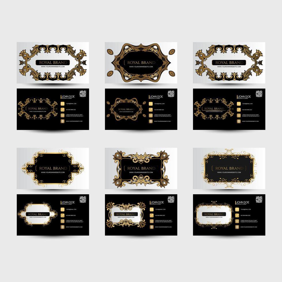 biglietti da visita in bianco e nero con ornamenti dorati vettore