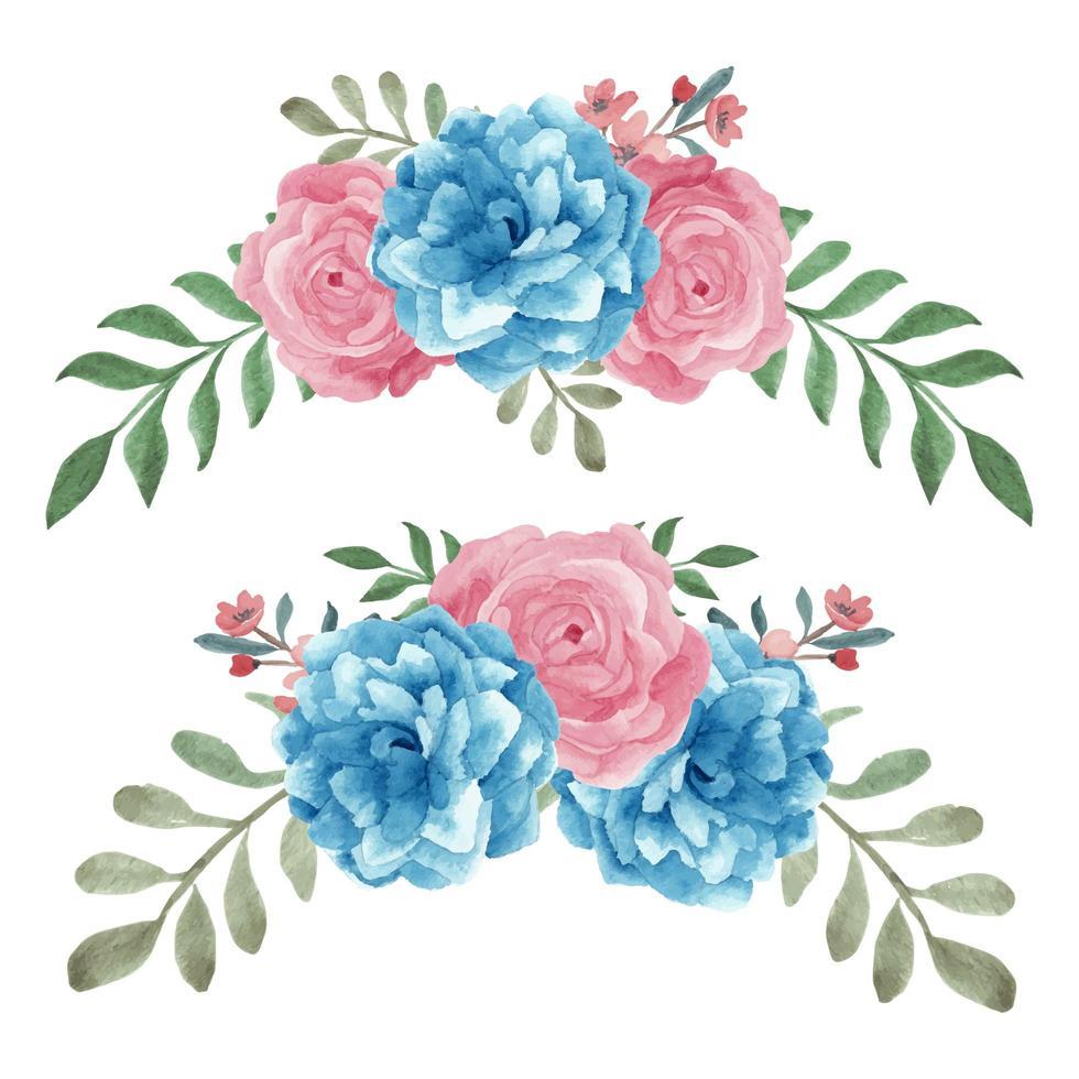 Acquerello blu rosa dipinto a mano rosa curvo set vettore