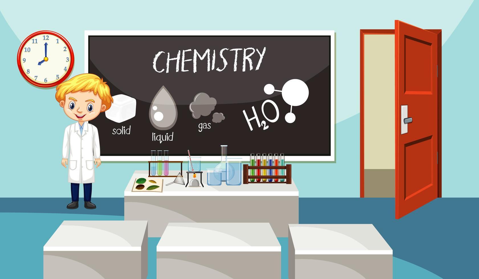 aula con insegnante di scienze vettore