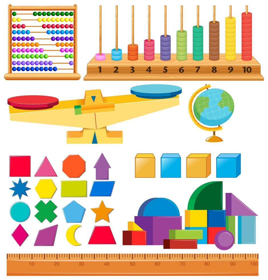 set di forme e altri oggetti scolastici vettore
