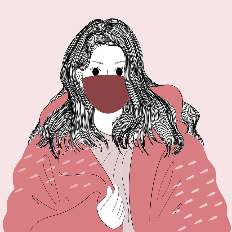 donna mascherata disegnata a mano in cappotto oversize vettore