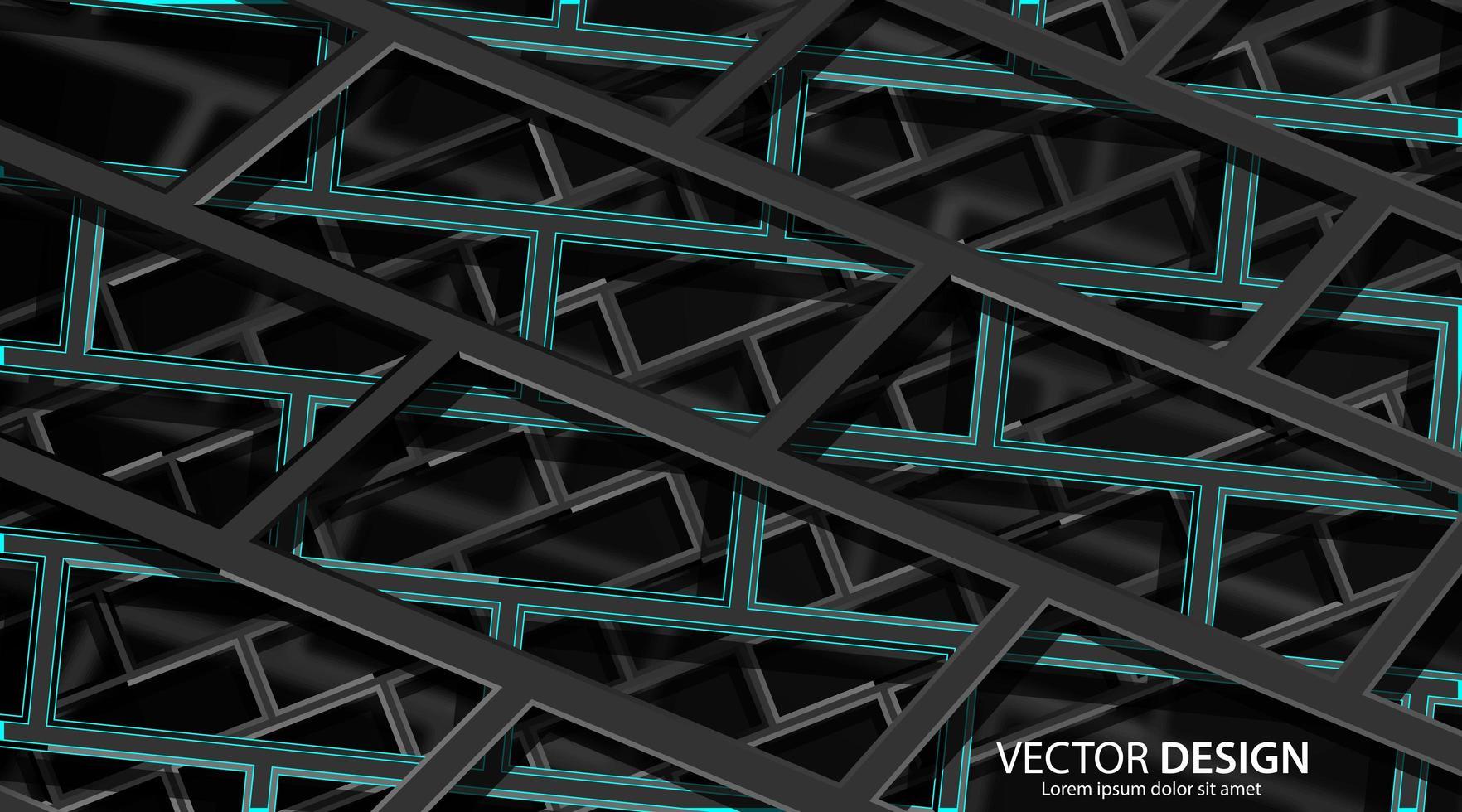 astratto 3d sfondo architettonico geometrico verde scuro e nero vettore