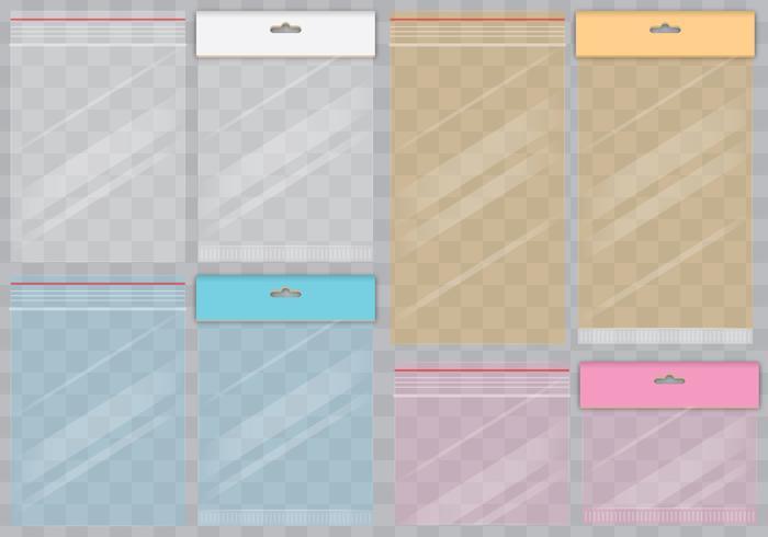 Sacchetti colorati trasparenti vettore