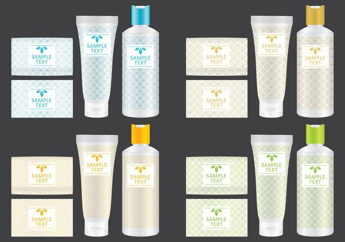 Confezione di sapone e shampoo vettore