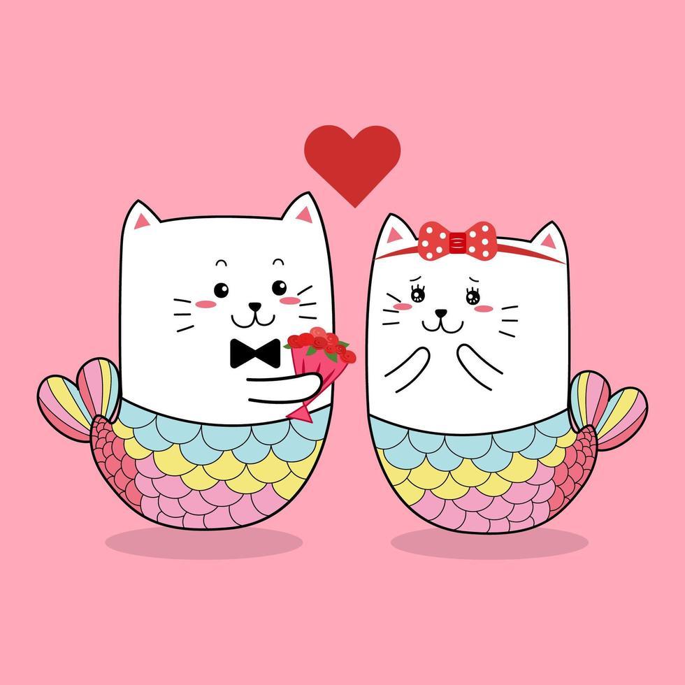 cat sirena coppia dando i fiori di rosa vettore