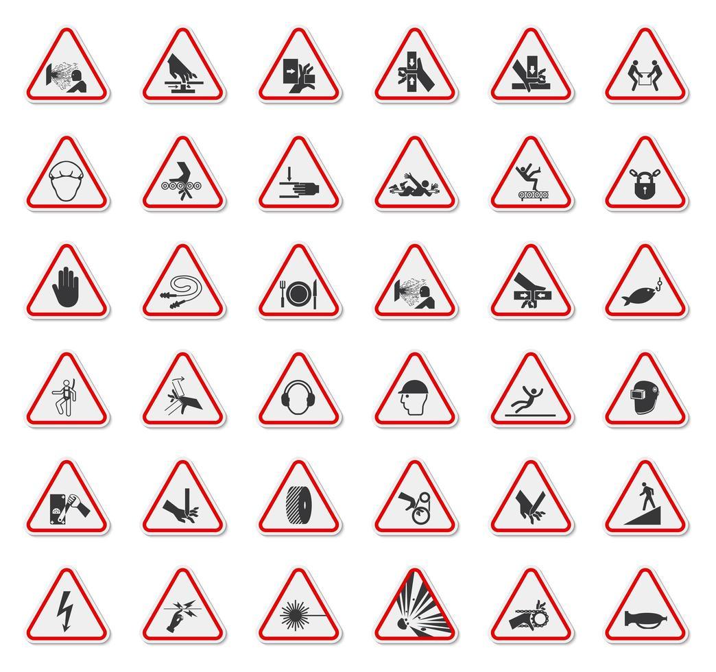 triangolo di avvertimento pericolo simboli etichette set di segni vettore