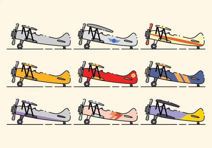 Set di icone minimalista biplano vettore