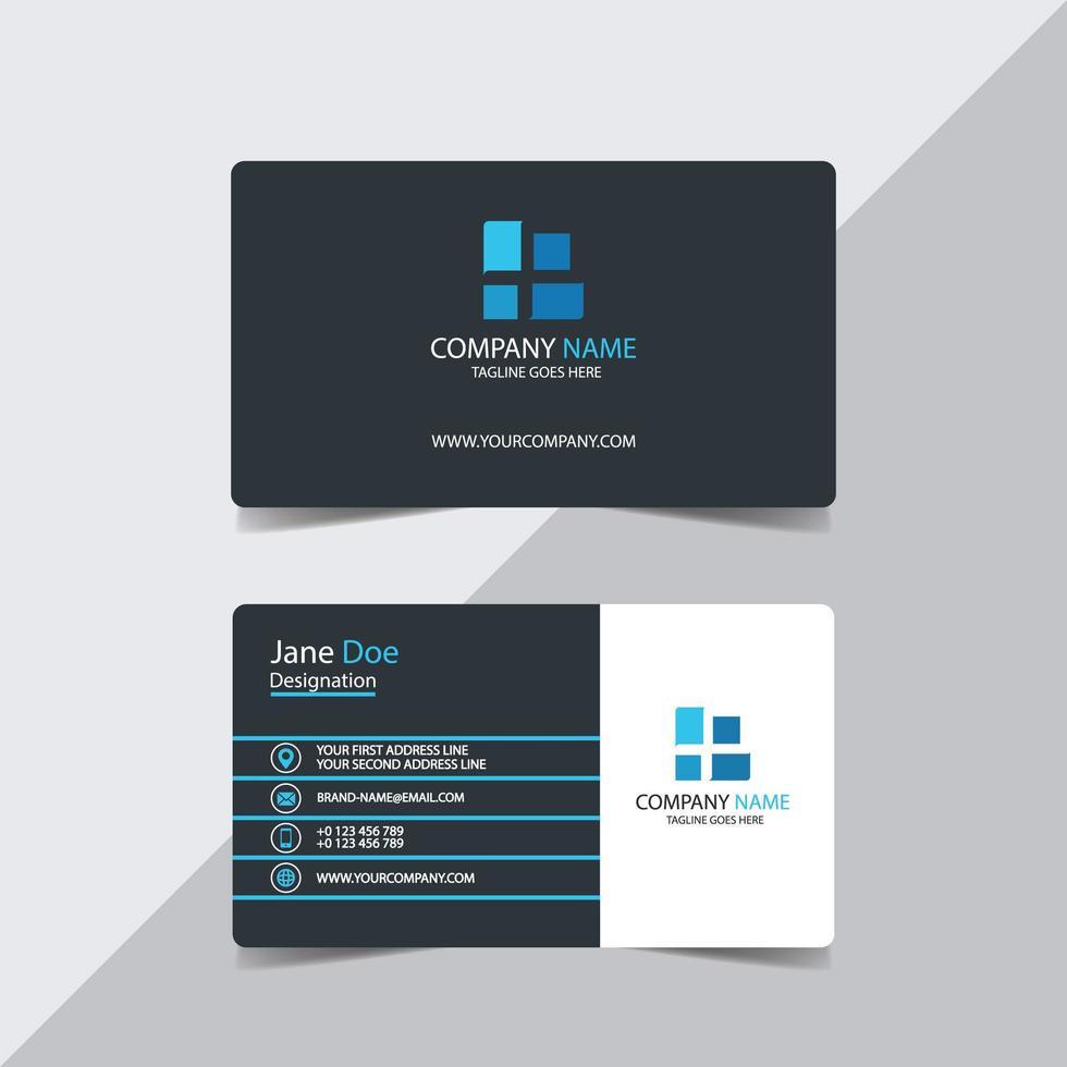 biglietto da visita con strisce blu su grigio e bianco vettore