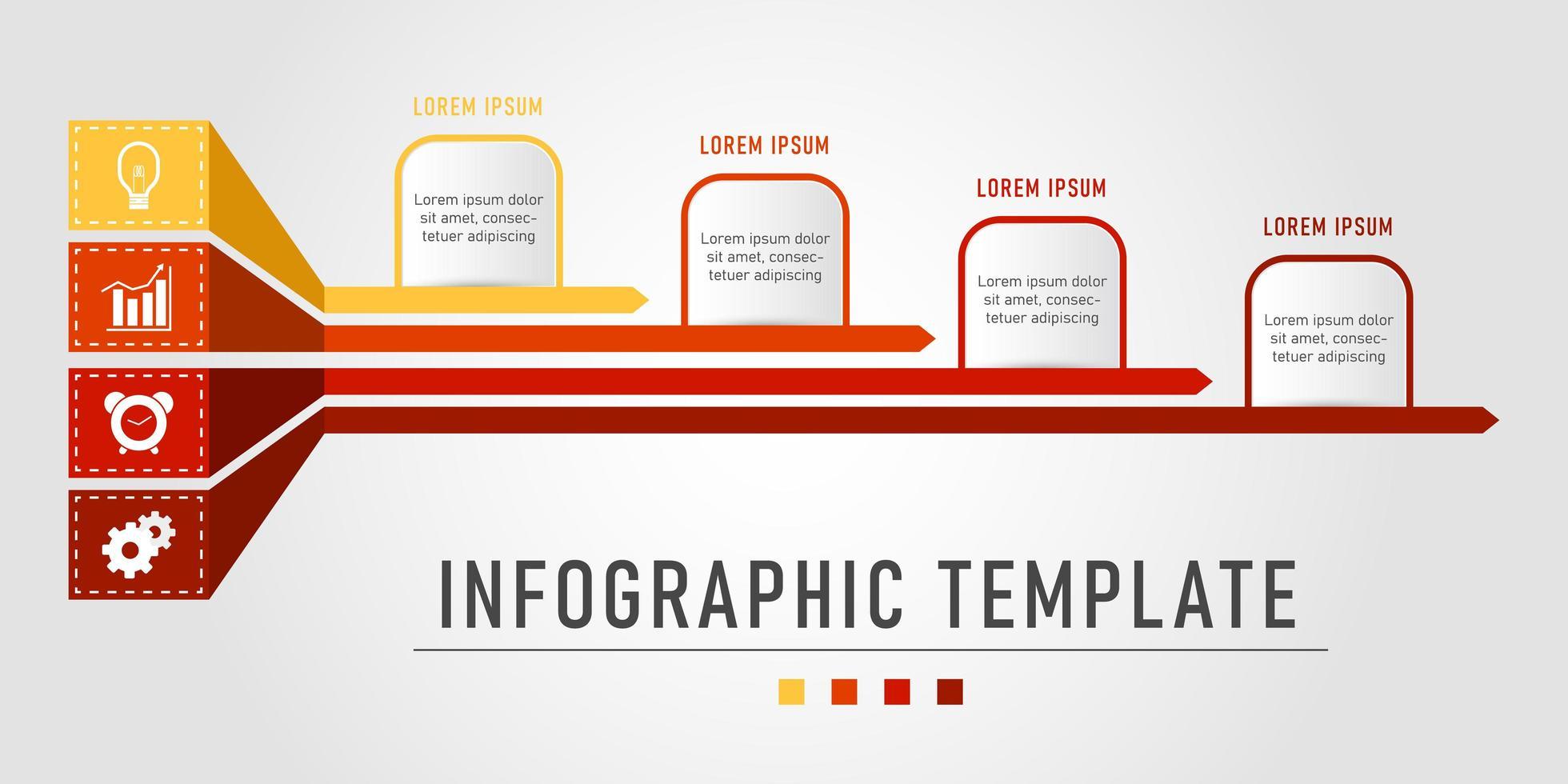 modello di business rosso e giallo infografica vettore